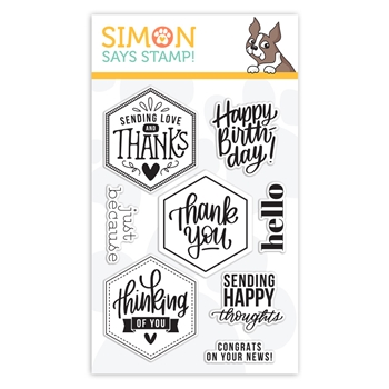 RESERVE Simon Says Clear Stamps HEXAGON GREETINGS sss102106 Crafty Hugs