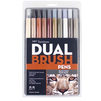 Tombow NEUTRAL PALETTE Dual Brush Markers 20 Pack 56194