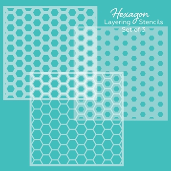 Honey Bee HEXAGON LAYERING Stencils Set of 3 hbsl02