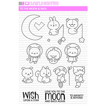 Clearly Besotted TO THE MOON AND BACK Clear Stamps