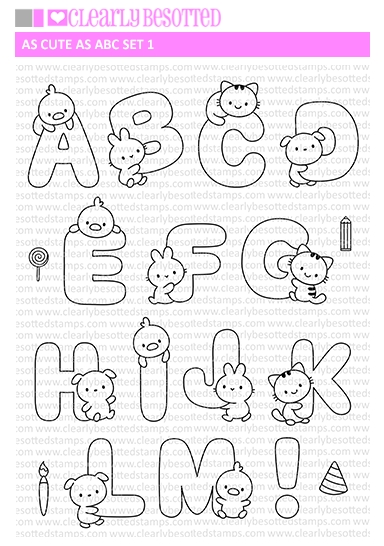 Clearly Besotted AS CUTE AS ABC SET 1 Clear Stamps zoom image