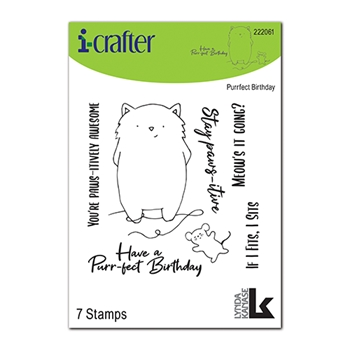 i-Crafter PURRFECT BIRTHDAY Clear Stamps 222061