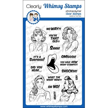 Whimsy Stamps GOSSIP GIRLS Clear Stamps CWSD315