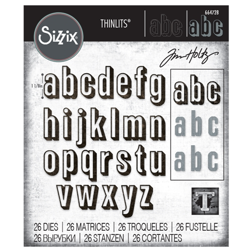 Tim Holtz Sizzix ALPHANUMERIC SHADOW LOWER Thinlits Die Set 664728 Preview Image