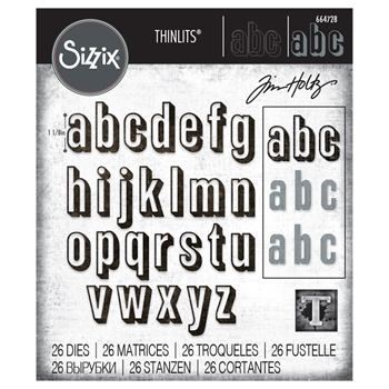 Tim Holtz Sizzix ALPHANUMERIC SHADOW LOWER Thinlits Die Set 664728