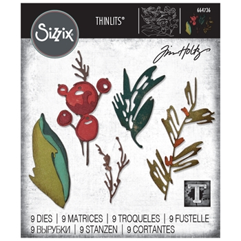 Tim Holtz Sizzix HOLIDAY BRUSHSTROKE Thinlits Dies 664736