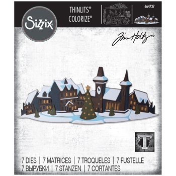 RESERVE Tim Holtz Sizzix HOLIDAY VILLAGE Colorize Thinlits Dies 664737