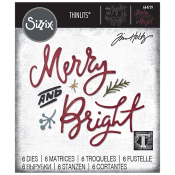 RESERVE Tim Holtz Sizzix MERRY & BRIGHT Thinlits Dies 664739