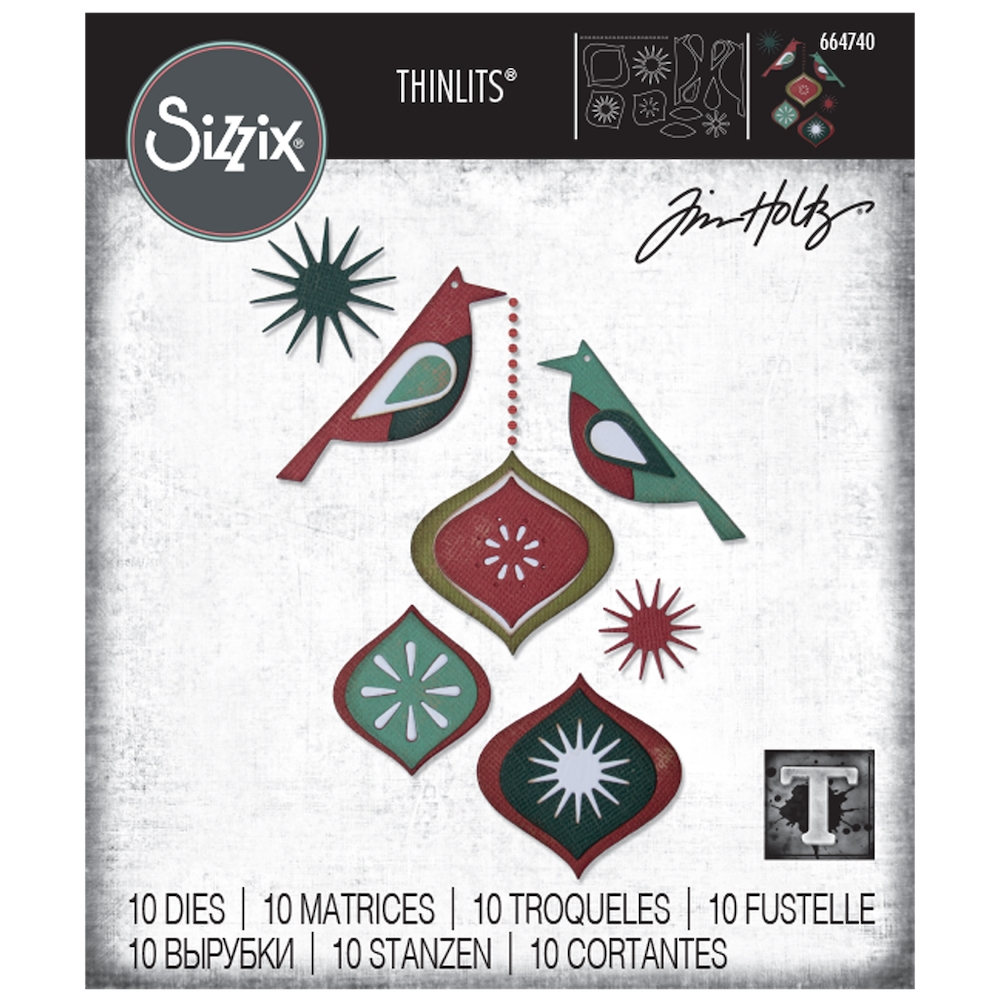 Tim Holtz Sizzix ORNAMENTAL BIRDS Thinlits 664740 zoom image