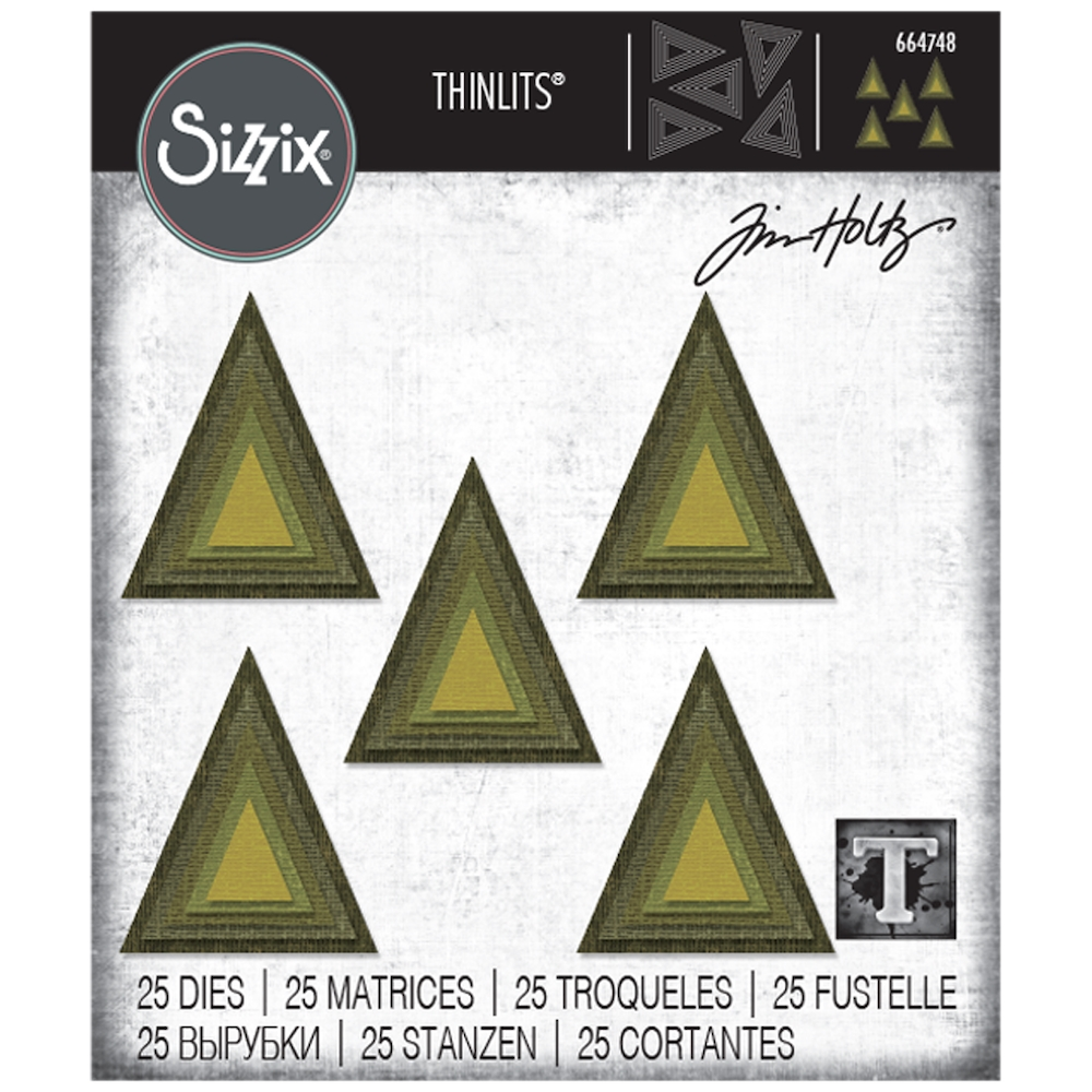 Tim Holtz Sizzix STACKED TILES TRIANGLES Thinlits Dies 664748 zoom image