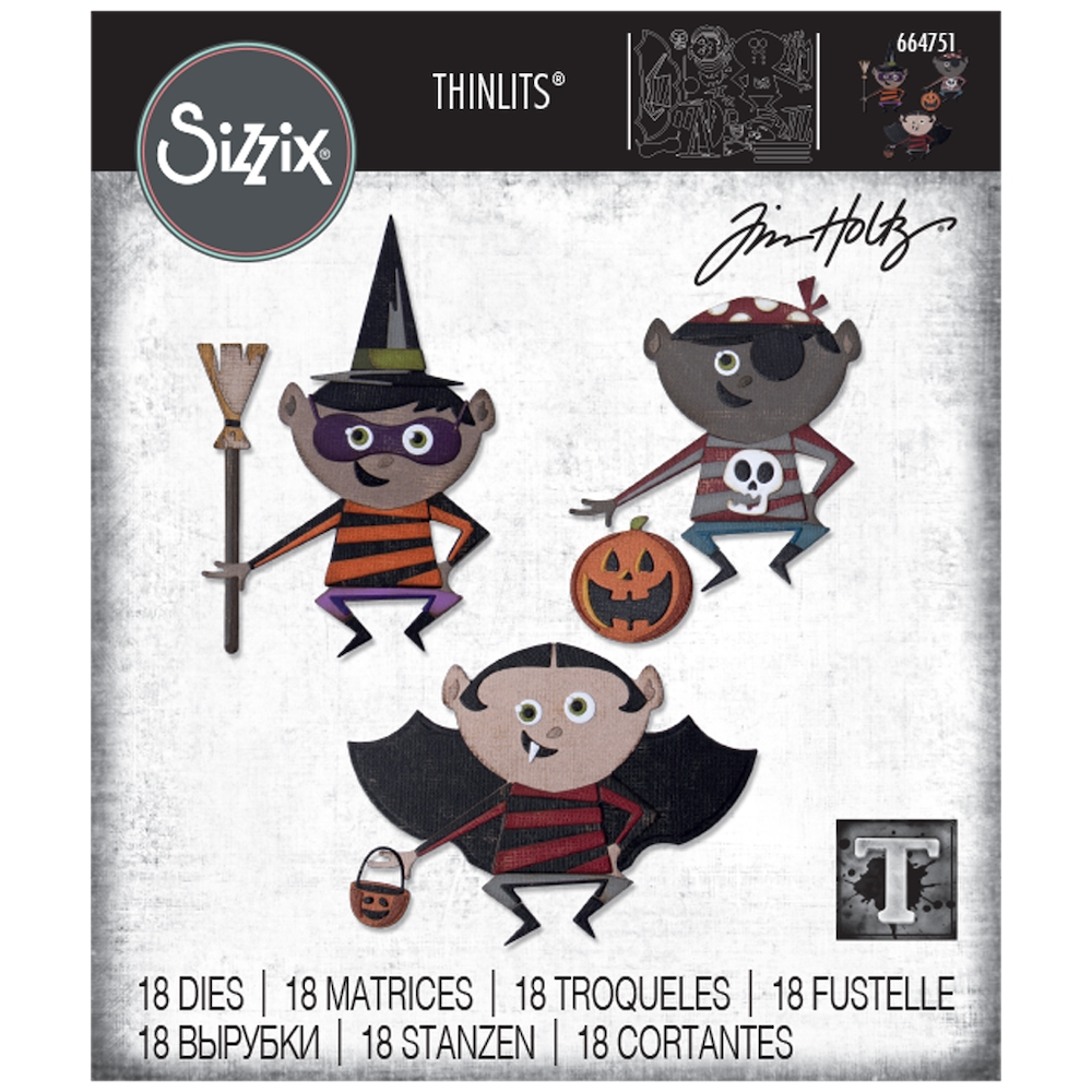 Tim Holtz Sizzix TRICK OR TREATER Thinlits Dies 664751 zoom image