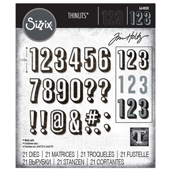 Tim Holtz Sizzix ALPHANUMERIC SHADOW NUMBERS Thinlits Dies 664808