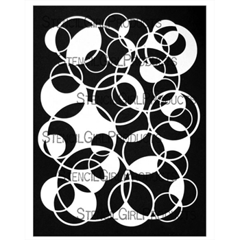 StencilGirl CIRCLES OVERLAPPING FILLED 9x12 Stencil l777