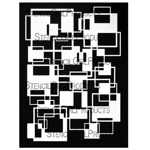 StencilGirl SQUARES OVERLAPPING FILLED 9x12 Stencil l781 Preview Image