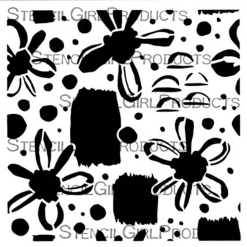 StencilGirl FLORAL DOTS AND MARKS REPEATING PATTERN 6x6 Stencil s768 zoom image