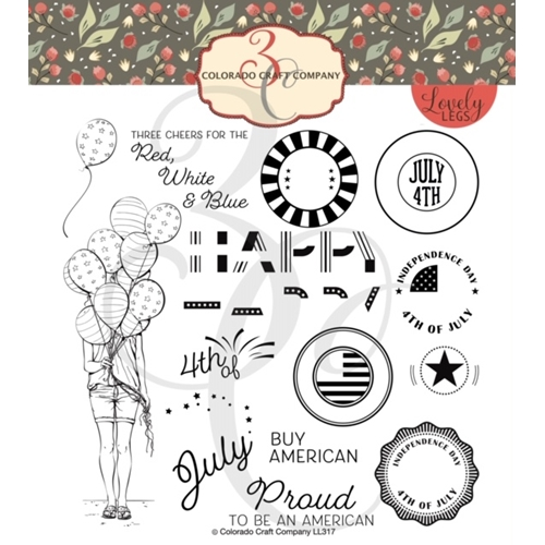Colorado Craft Company Lovely Legs RED WHITE AND BLUE Clear Stamps LL317 Preview Image