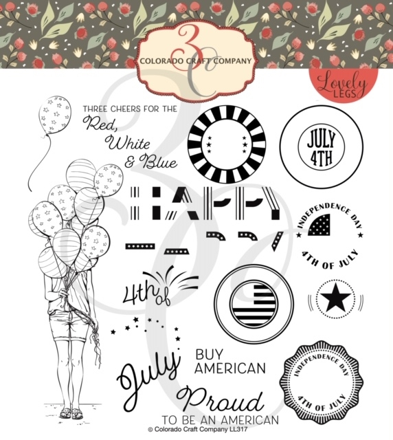 Colorado Craft Company Lovely Legs RED WHITE AND BLUE Clear Stamps LL317 zoom image