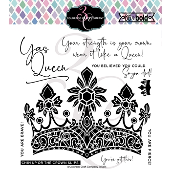 Colorado Craft Company Big and Bold A QUEEN'S CROWN Clear Stamps BB324