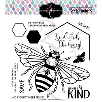 Colorado Craft Company Big and Bold HONEY BEE Clear Stamps BB323
