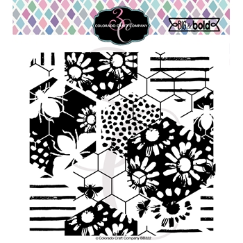 Colorado Craft Company Big and Bold DAISY AND BEE BACKGROUND Clear Stamps BB322