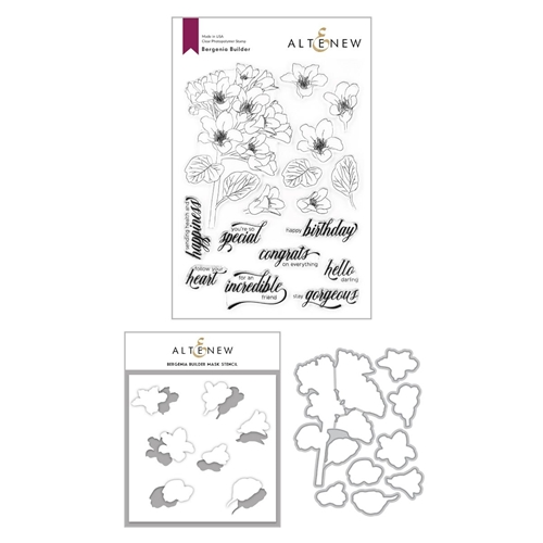 Altenew BERGENIA BUILDER Clear Stamp, Die and Mask Stencil Bundle ALT4204 Preview Image