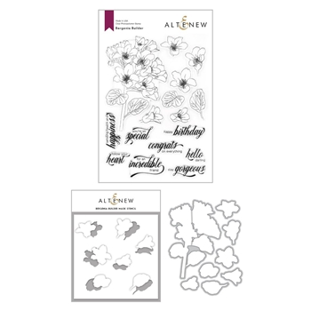 Altenew BERGENIA BUILDER Clear Stamp, Die and Mask Stencil Bundle ALT4204