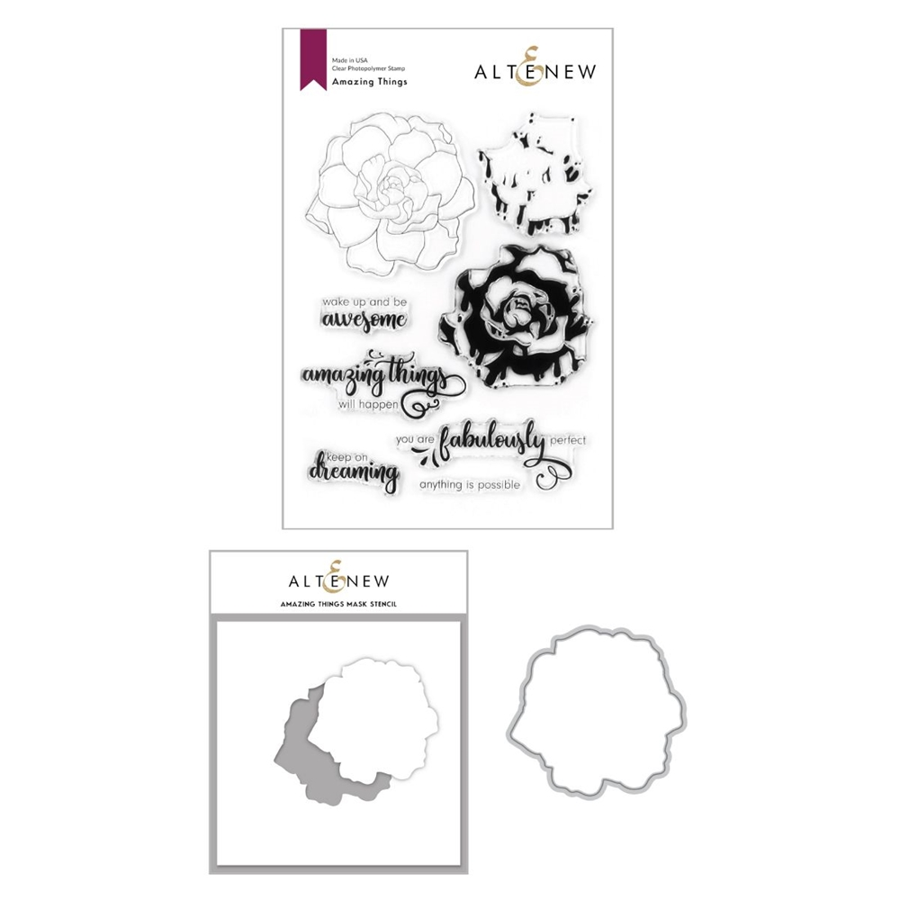 Altenew AMAZING THINGS Clear Stamp, Die and Mask Stencil Bundle ALT4198 zoom image