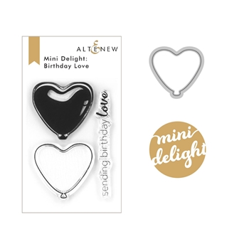 Altenew MINI DELIGHT BIRTHDAY LOVE Clear Stamp and Die Bundle ALT4163