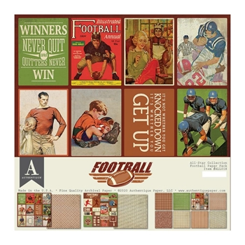 Authentique FOOTBALL 12 x 12 Paper Pack all018