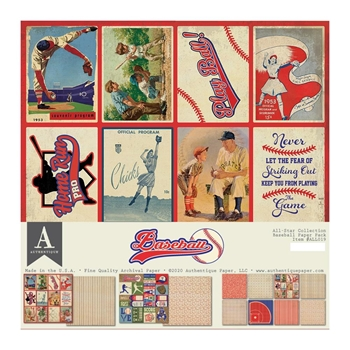 Authentique BASEBALL 12 x 12 Paper Pack all019