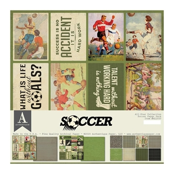 Authentique SOCCER 12 x 12 Paper Pack all020