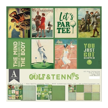 Authentique GOLF AND TENNIS 12 x 12 Paper Pack all022*