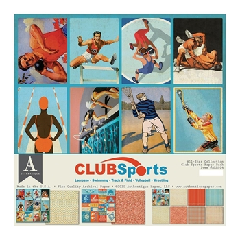 Authentique CLUB SPORTS 12 x 12 Paper Pack all024