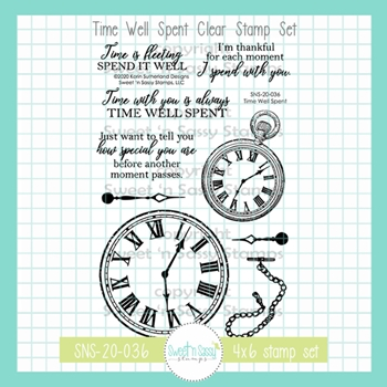 Sweet 'N Sassy TIME WELL SPENT Clear Stamp Set sns20036
