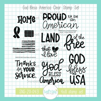 Sweet 'N Sassy GOD BLESS AMERICA Clear Stamp Set sns20043