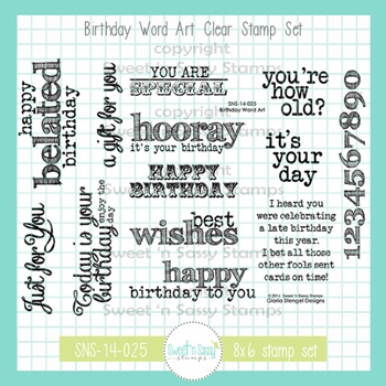 Sweet 'N Sassy BIRTHDAY WORD ART Clear Stamp Set sns14025