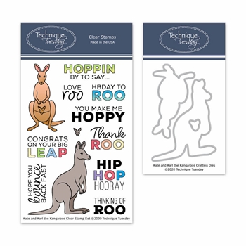 Technique Tuesday KATE AND KARL KANGAROOS Clear Stamp and Die Set 8483