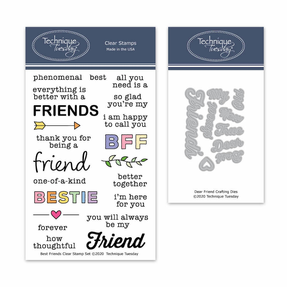 Technique Tuesday BEST FRIENDS Clear Stamp and Die Set 8445 zoom image