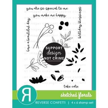 Reverse Confetti SKETCHED FLORALS Clear Stamps