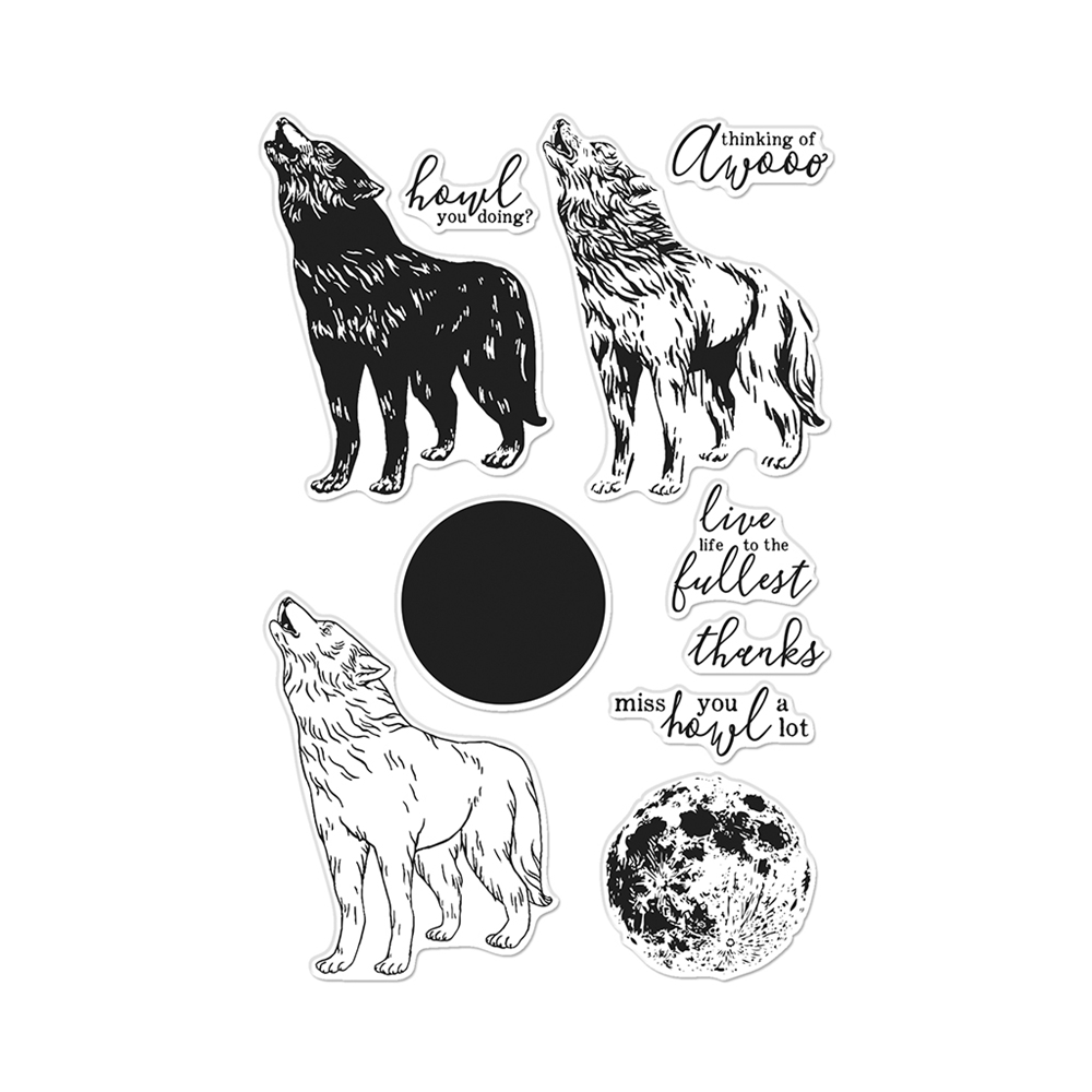 Hero Arts Clear Stamps COLOR LAYERING HOWLING WOLF CM455 zoom image