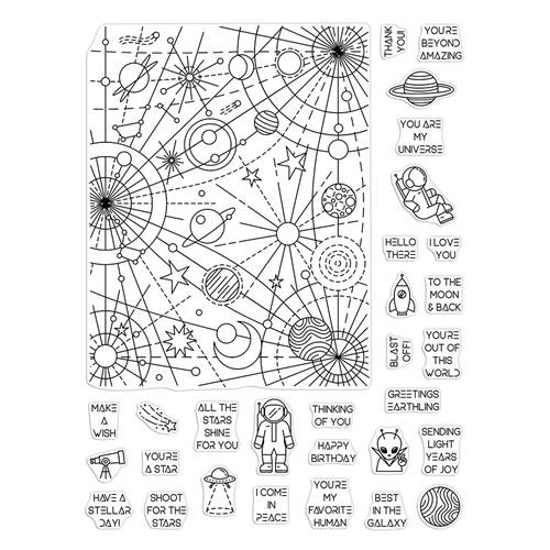 Hero Arts Clear Stamps GALAXY PEEK A BOO PARTS CM453 Preview Image