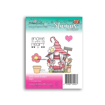 Polkadoodles GNOME IS WHERE THE HEART IS Clear Stamps pd8073