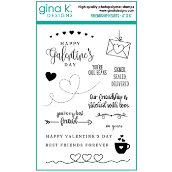 Gina K Designs FRIENDSHIP HEARTS Clear Stamps 6439