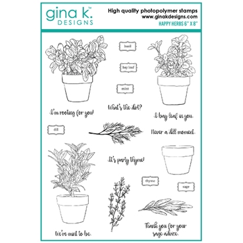 Gina K Designs HAPPY HERBS Clear Stamps 6422