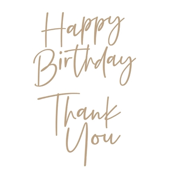 GLP-190 Spellbinders STYLISH SCRIPT THANK YOU AND HAPPY BIRTHDAY Glimmer Hot Foil Plate