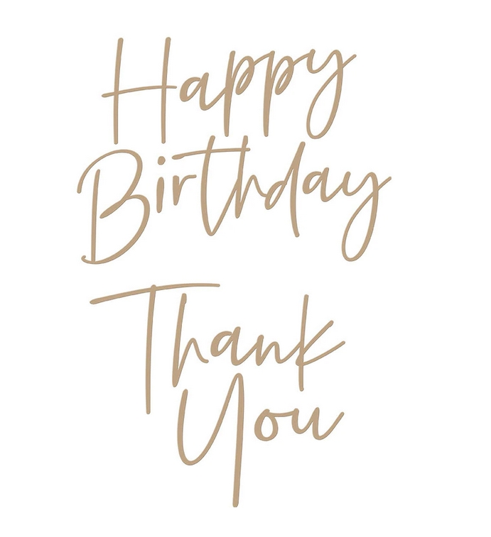 GLP-190 Spellbinders STYLISH SCRIPT THANK YOU AND HAPPY BIRTHDAY Glimmer Hot Foil Plate zoom image