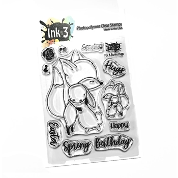 Inkon3 FOX AND BUNNY HUGS Clear Stamps 40727