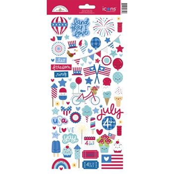 Doodlebug LAND THAT I LOVE Icons Cardstock Stickers 6814