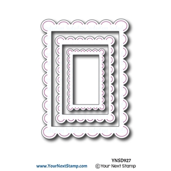 Your Next Die RECTANGLE SCALLOP FRAMES WITH PIERCING MARKS ynsd927