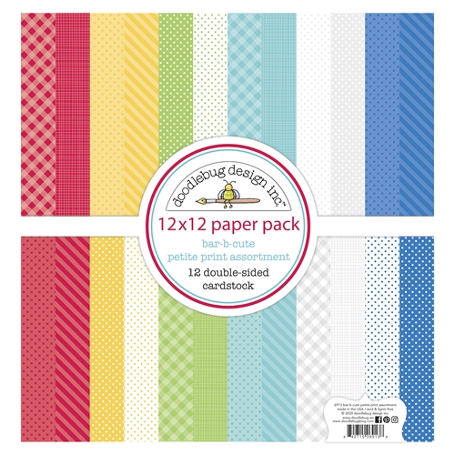 Doodlebug BAR-B-CUTE 12x12 Inch Petite Print Assortment Paper 6913 Preview Image